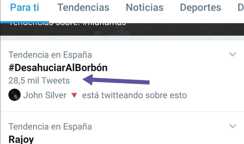 Número de tuits del HT #DesahuciarAlBorbón