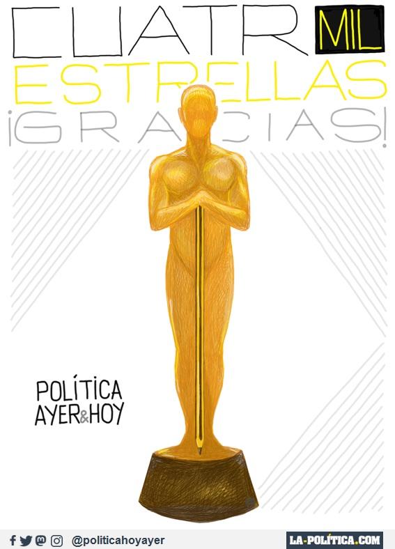 CUATRO MIL ESTRELLAS ¡GRACIAS! POLÍTICA AYER&HOY (Viñeta de JamónYQuesp - Ramón Nzé Esono)
