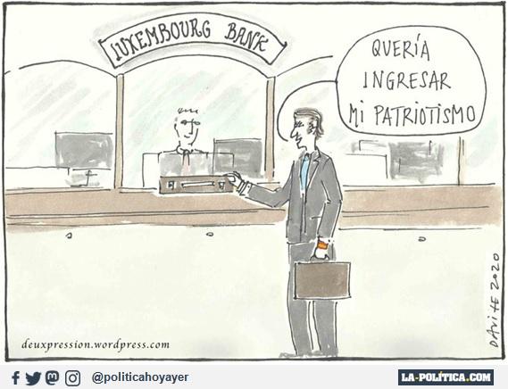 LUXEMBOURG BANK. -Quería ingresar mi patriotismo (Viñeta de Deuxpression)