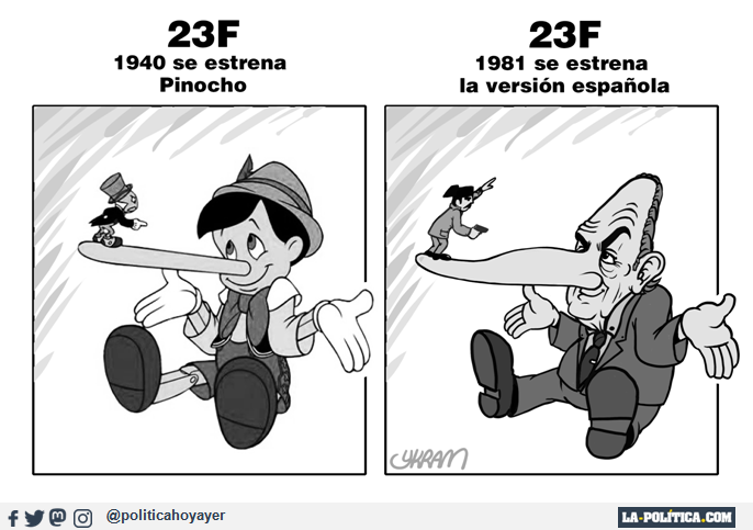 23F 1940 se estrena Pinocho. 23F 1981 se estrena la versión española (Viñeta de Ykram)