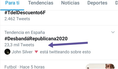 Número de tuits del HT #DesbandáRepublicana2020 del 5-02-2020