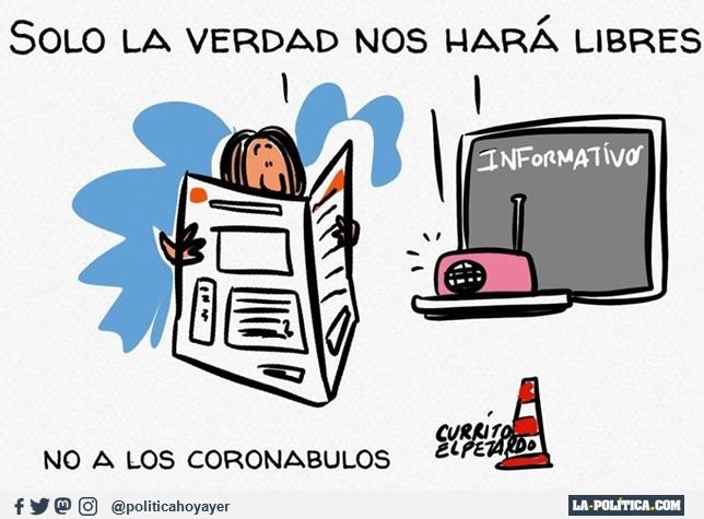 SOLO LA VERDAD NOS HARÁ LIBRES. NO A LOS CORONABULOS (Viñeta de El Petardo)