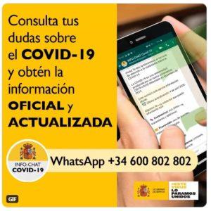 El Gobierno pone en marcha Hispabot-Covid19, un canal de consulta sobre el COVID-19 a través de WhatsApp, creado con Inteligencia Artificial con el número: 600 802 802