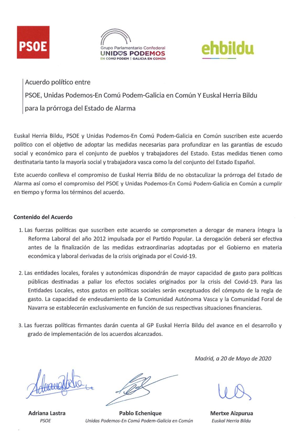 Acuerdo derogación de la reforma laboral. PSOE - UP - BILDU. 20-05-2020