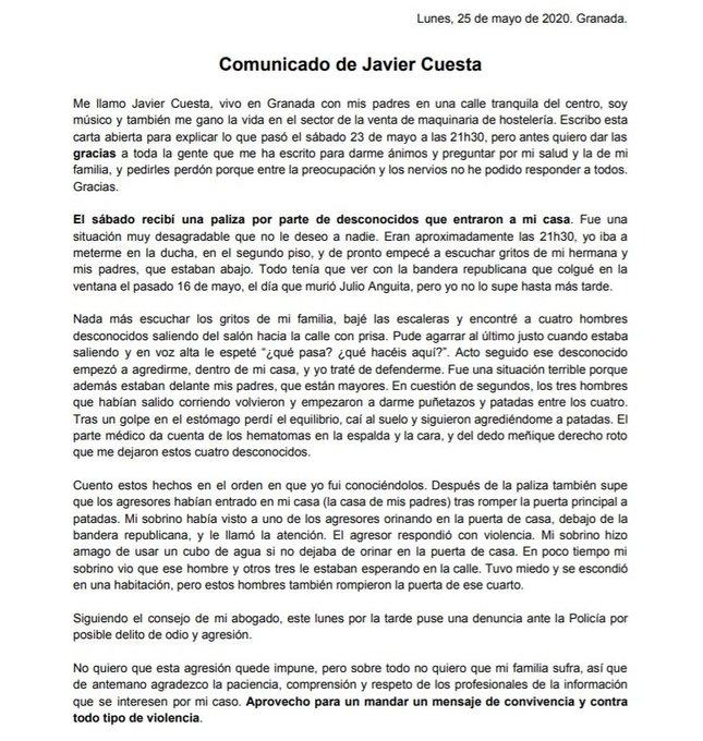 Comunicado de Javier Cuesta