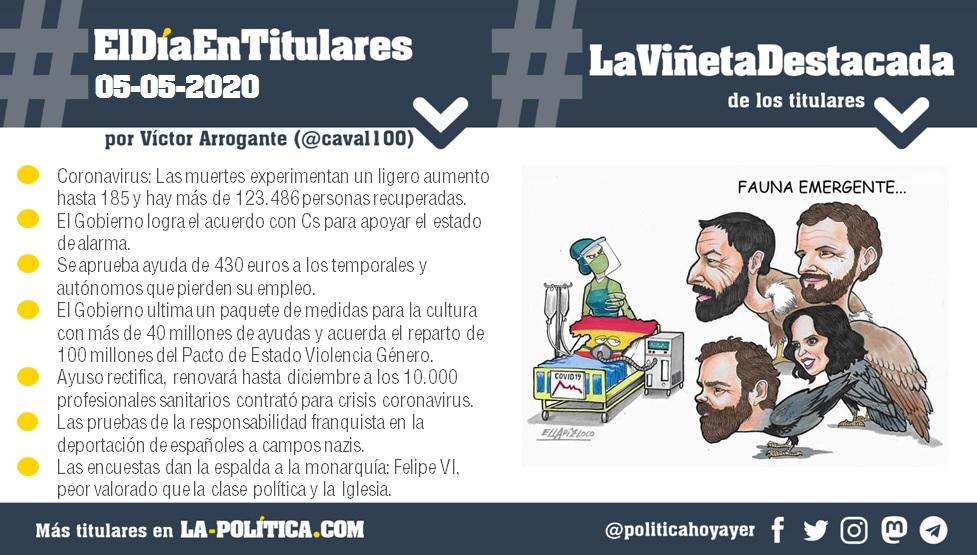#ElDíaEnTitulares #LaViñetaDestacada - 5 de mayo de 2020 - Resumen por Víctor Arrogante - Viñeta por ELLAPIZLOCO. Humor gráfico. Noticias. Opinión. Memoria histórica.