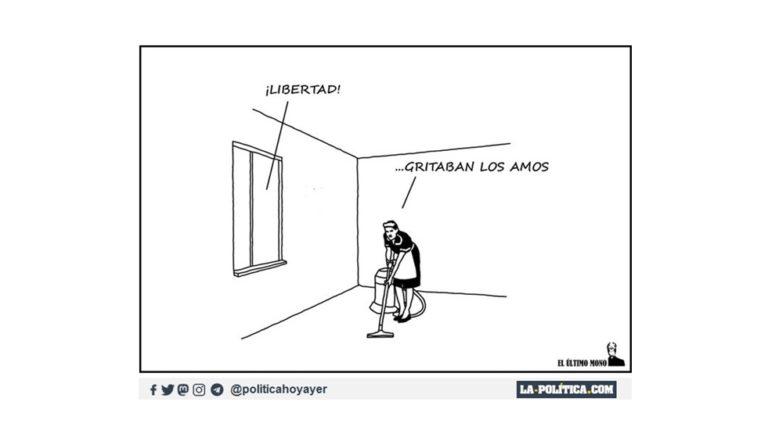 «Descerebrados en el Barrio Salamanca de Madrid se saltan la distancia social, gritando libertad y pidiendo la dimisión de Sánchez» Viñeta de @_elultimomono Artículo de Simone Renn