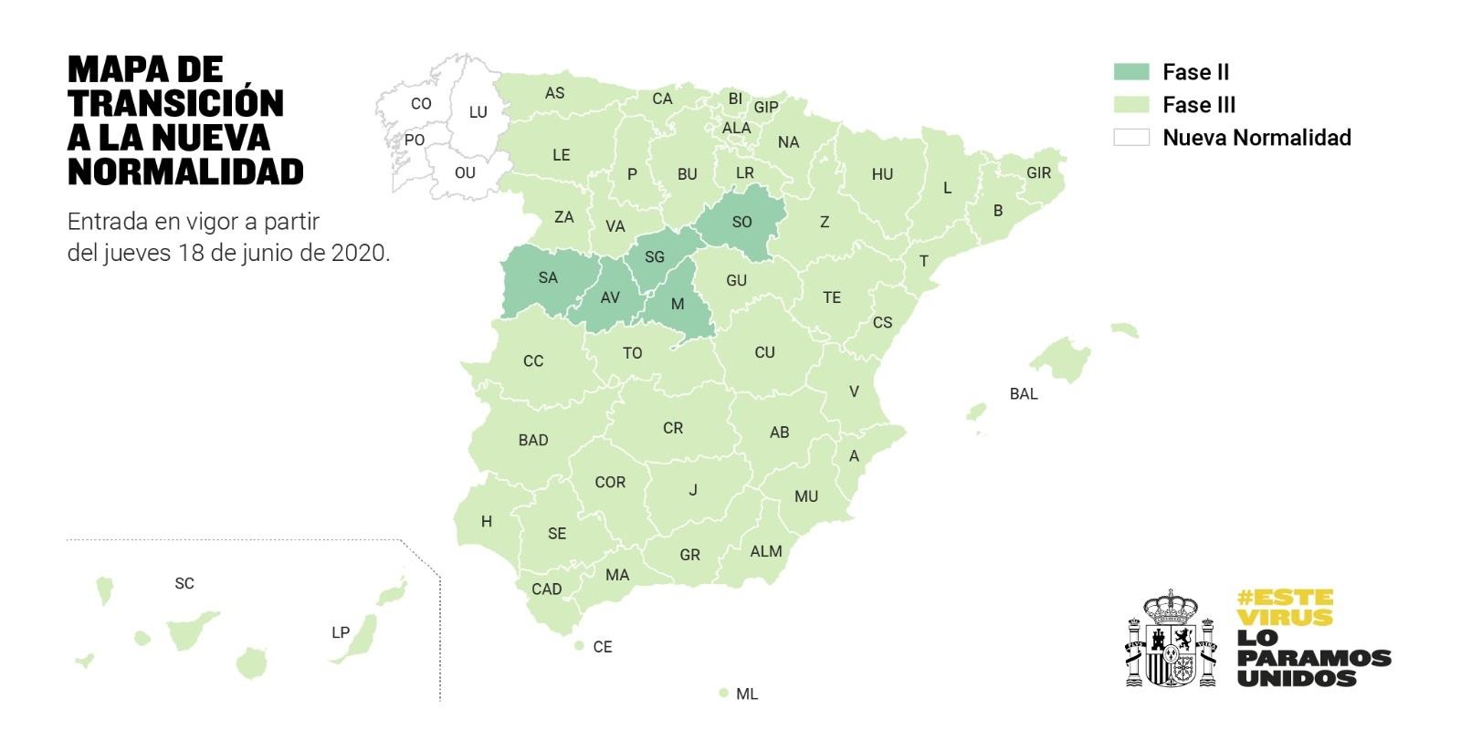 Mapa de transición a la nueva normalidad. 18-06-2020