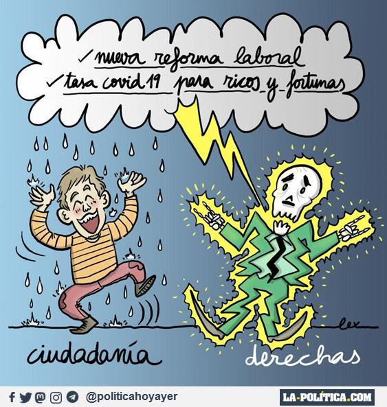 NUEVA REFORMA LABORAL. TASA COVID-19 PARA RICOS Y FORTUNAS. (Viñeta de LEx)