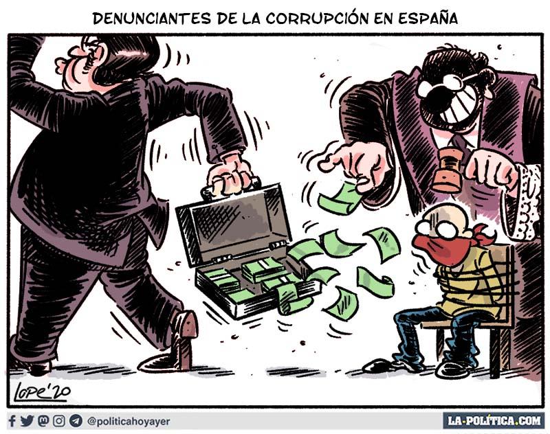 DENUNCIANTES DE LA CORRUPCIÓN EN ESPAÑA (Viñeta de Lope)