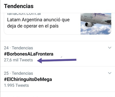 Número de tuits del HT #BorbonesALaFrontera del 17-06-2020
