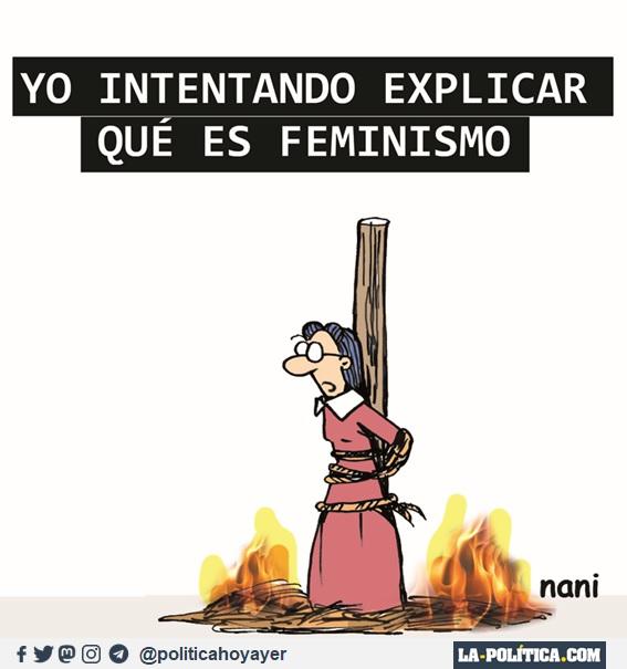 YO INTENTANDO EXPLICAR QUÉ ES FEMINISMO. (Viñeta de Nani)