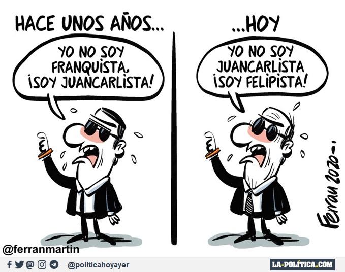 HACE UNOS AÑOS... - Yo no soy franquista, ¡Soy juancarlista! ...HOY - Yo no soy juancarlista ¡Soy felipista! (Viñeta de Ferran Martín)