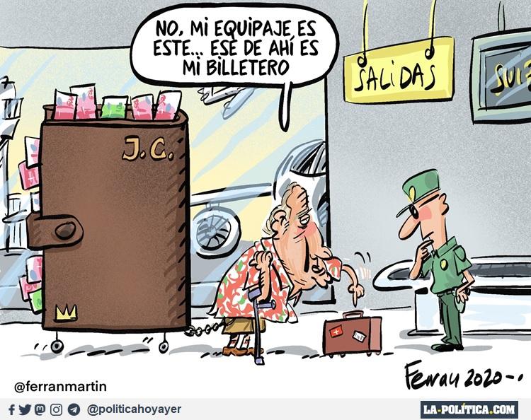 - No, mi equipaje es este..., Ese de ahí es mi billetero. (Viñeta de Ferran Martín)