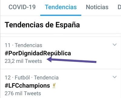Número de tuits del HT #PorDignidadRepública el 22-07-2020