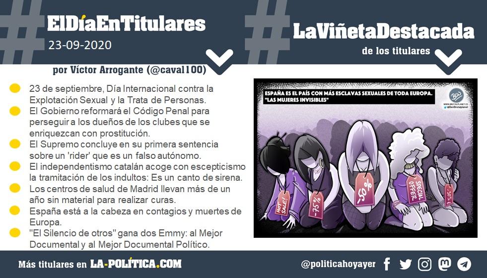 23 de septiembre de 2020 Resumen por Víctor Arrogante y viñeta por Ben. Humor gráfico. Noticias. Opinión. Memoria histórica.