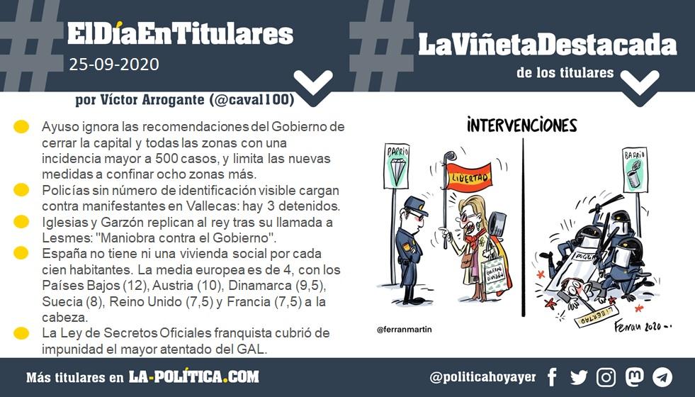 25 de septiembre de 2020 Resumen por Víctor Arrogante y viñeta por Ferran Martín. Humor gráfico. Noticias. Opinión. Memoria histórica.