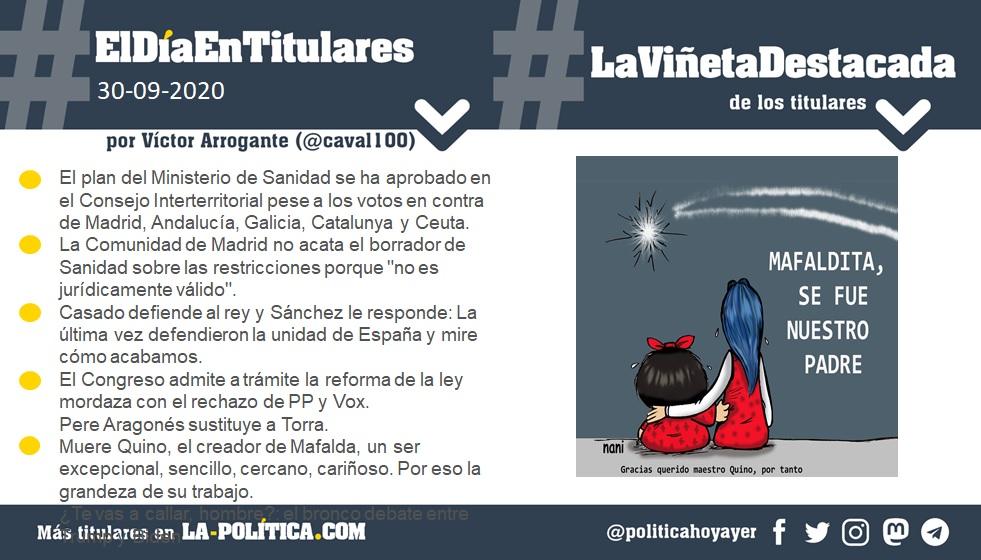 30 de septiembre de 2020 Resumen por Víctor Arrogante y viñeta por Nani. Humor gráfico. Noticias. Opinión. Memoria histórica.