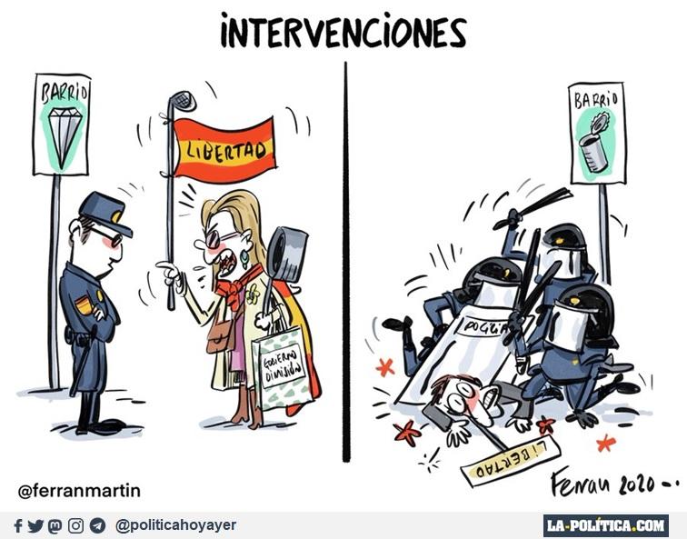 INTERVENCIONES. BARRIO RICO. LIBERTAD. BARRIO POBRE. LIBERTAD. (Viñeta de Ferran Martín)