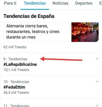 El HT #LaRepúblicaUne alcanzó el noveno puesto en TT el 28 de octubre de 2020