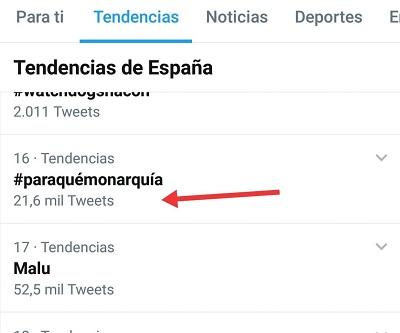 NÚMERO DE TUITS DEL HT #PARAQUÉMONARQUÍA DE MIÉRCOLES DE REPUBLICA