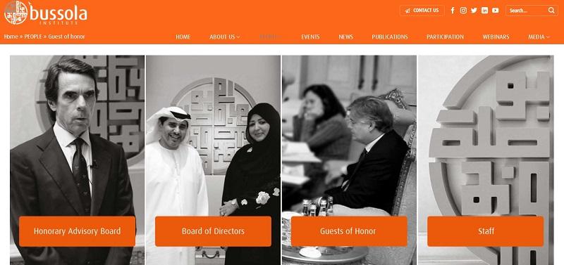 Web de Bussola. Think tank de Emiratos Árabes Unidos. Junta asesora honoraria (José María Aznar)
