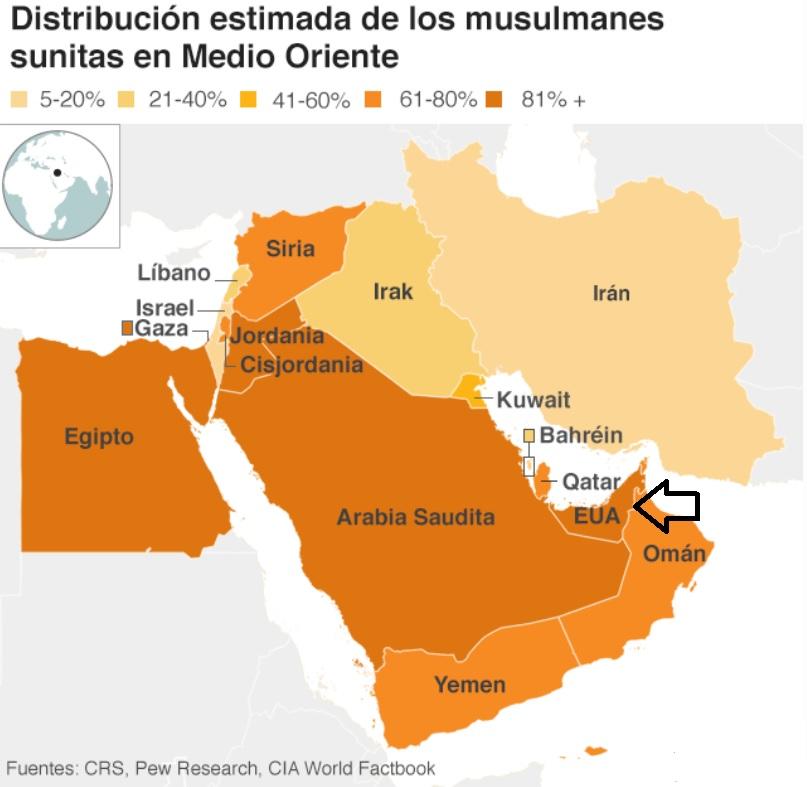Distribución estimada de los musulmanes sunitas en Medio Oriente. Localización de los Emiratos Árabes Unidos (EUA)