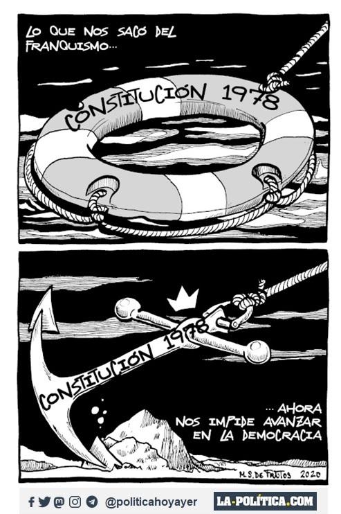 LO QUE NOS SACÓ DEL FRANQUISMO: CONSTITUCIÓN 1978. CONSTITUCIÓN 1978 ...AHORA NOS IMPIDE AVANZAR EN LA DEMOCRACIA. (Viñeta de Manuel S. de Frutos)