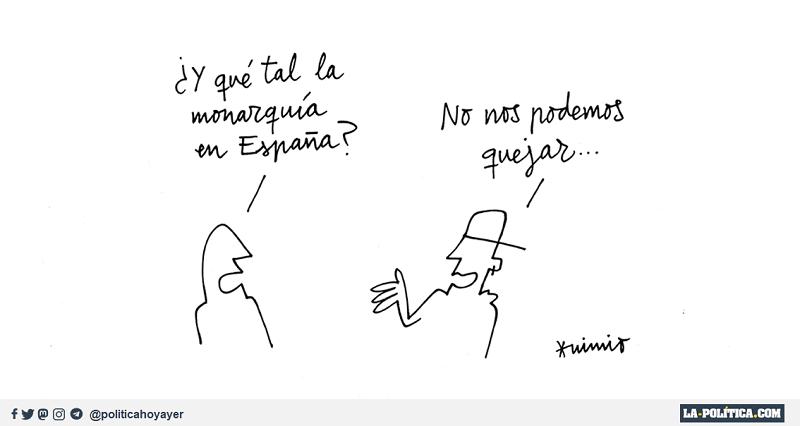 - ¿Y que tal la monarquía en España? - No nos podemos quejar... (Viñeta de Anonimio) - Pablo Hasél
