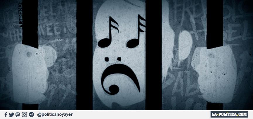 El cantante de rap Pablo Hasél encarcelado (Viñeta de Artsenal)