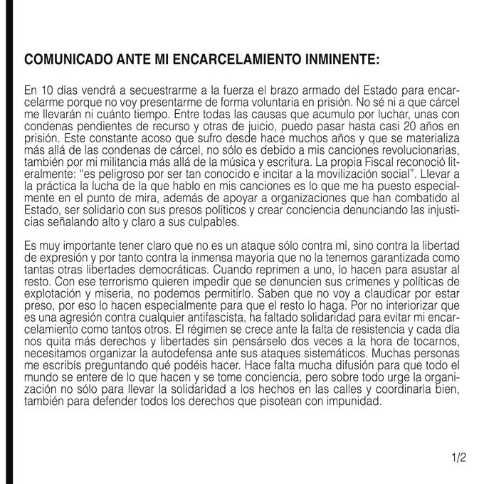 Comunicado de Pablo Hasel ante el anuncio de su encarcelamiento. (Parte 1)