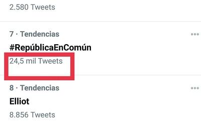 Número de tuits del HT #RepúblicaEnComun del 3-02-2021
