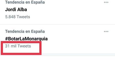El hashtag #BotarLaMonarquía fue apoyado por más de 31.000 tuits: