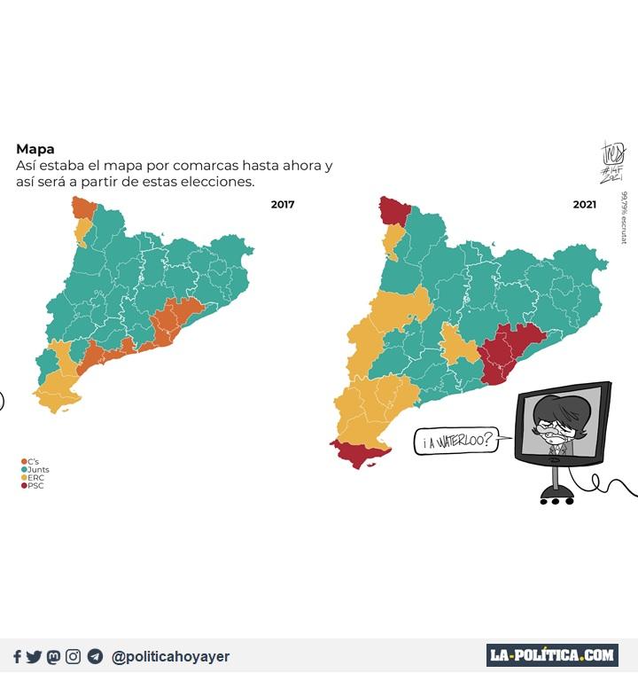 Mapa de los resultados de las elecciones catalanas. (Viñeta de Tres)