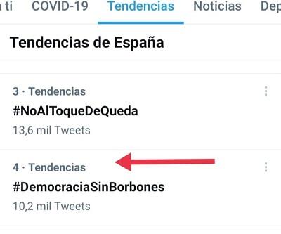 #DemocraciaSinBorbones cuarta tendencia 24-03-2021