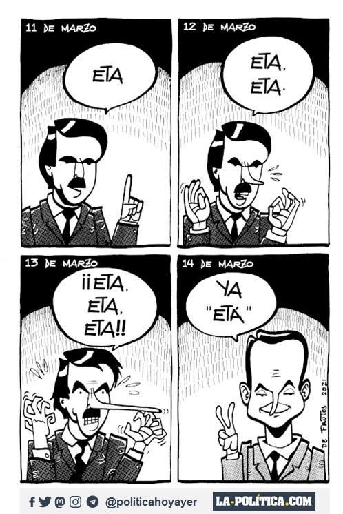"11 DE MARZO. - ETA. 12 DE MARZO -ETA. ETA. - 13 DE MARZO ¡¡ETA,ETA,ETA!! 14 DE MARZO - Ya ""ETÁ"". (Viñeta de Manuel S. de Frutos)"