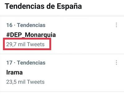 Número de tuits del HT #DEP_Monarquía - 03-04-2021