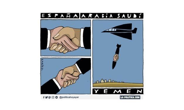 Yemen 6 años en guerra, en ese periodo España ha vendido casi 2.000 millones de euros en armas a la coalición liderada por Arabia Saudí y EAU que bombardea a la población. ¿Hoy de nuevo un barco saudí carga más armas en Sagunto?