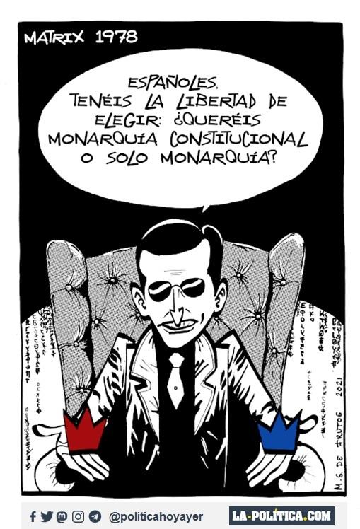 MATRIX 1978. - Españoles, tenéis la libertad de elegir: ¿Queréis monarquía constitucional o solo monarquía? (Viñeta de Manuel s. de Frutos)