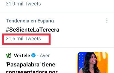 Número de tuits del HT #SeSienteLATercera del 28-04-2021