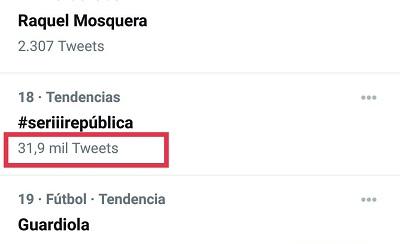 Número de tuits del HT #SerIIIRepública - 14-04-2021