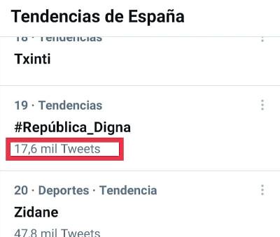 Número de tuits del HT #República_Digna del 26 de mayo de 2021
