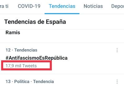 Número de tuits del HT #AntifascismoEsRepública - 19-05-2021