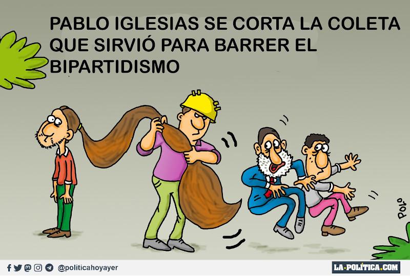 Pablo Iglesias se corta la coleta que sirvió para barrer el bipartidismo.(Viñeta de Polo)