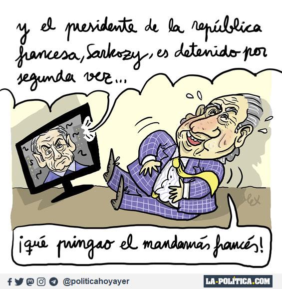 - Y el presidente de la República francesa, Sarkozy, es detenido por segunda vez... - Qué pringao el mandamás francés! - (Viñeta de Lex)